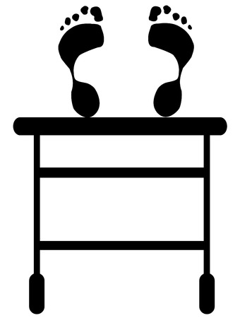 silhouette of gurney with footprints on top of the table Stock Vector - 3296235