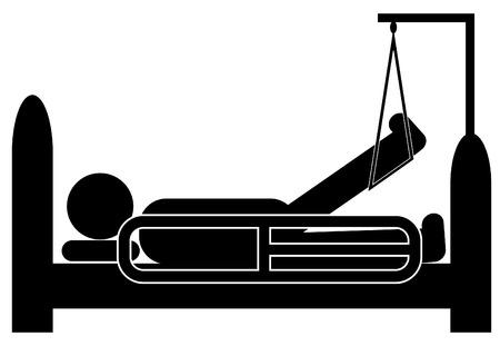 patient in bed: persona acostada en el hospital con la pierna pierna lesionada en cors�