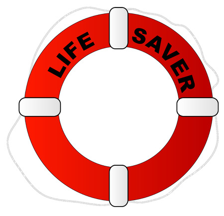 saver: red and white life preserver with words life saver