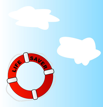 life bouy: life preserver thrown into sky with white clouds