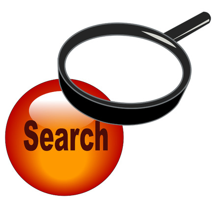 magnifying glass over top of search button Vector