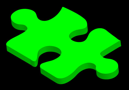 green three dimensional puzzle piece on black background Vector