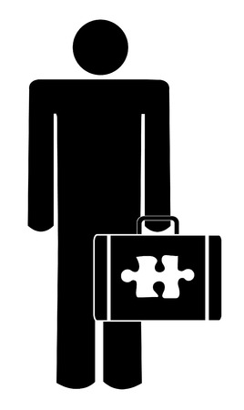 piece: business man with puzzle piece missing from briefcase Illustration