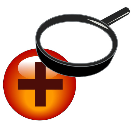 magnifying glass over plus button - zoom in icon Vector