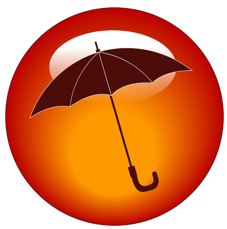 red umbrella web button or icon - rainy weather concept Stock Vector - 3316642
