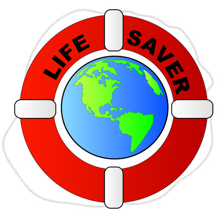life preserver surronunding the earth - global protection concept Vector