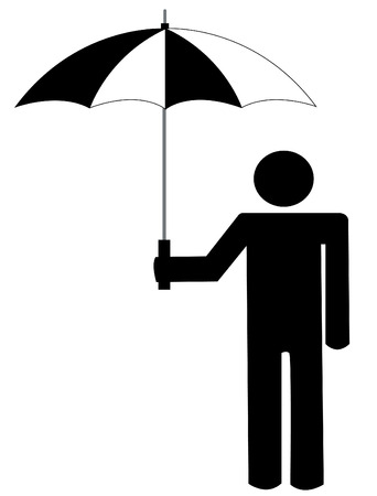 the man: stick man or figure holding an umbrella