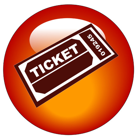 red and white admission ticket web icon or button Vector