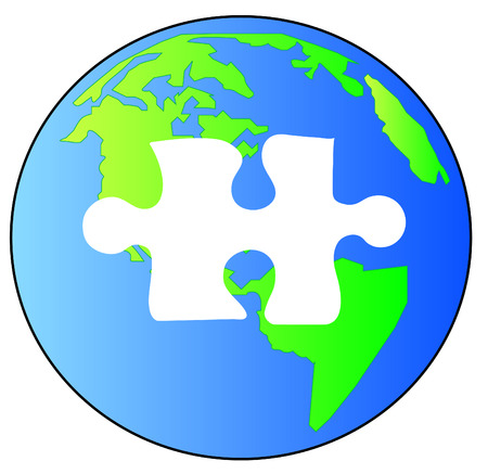 missing puzzle piece: green and blue earth with piece of the puzzle missing