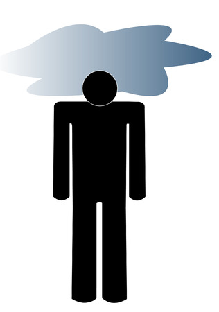 fatigued: man with dark cloud over his head - concept of depression