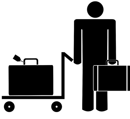 trolley case: business man with briefcase and luggage on trolley