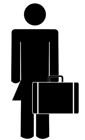 business woman: business woman or figure holding briefcase or suitcase Illustration
