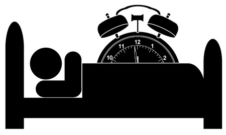 midnight hour: man in bed with alarm clock ticking over top of him Illustration
