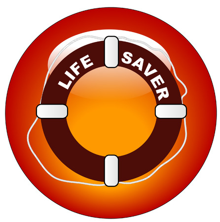 red icon or button for  life preserver with words life saver Vector