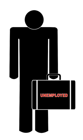 man holding briefcase with the words - unemployed Vector