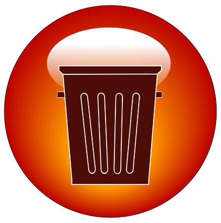 throwaway: empty trash can button or icon - vector