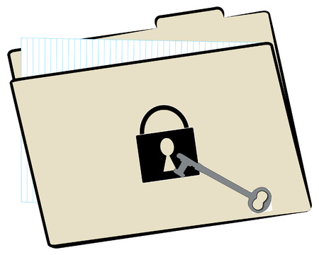 file folder with protected with lock and key Vector