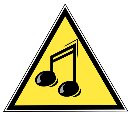 music: yellow triangular with with a musical note - illustration