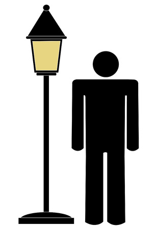 silhouette of a man standing under lit lamp post Vector