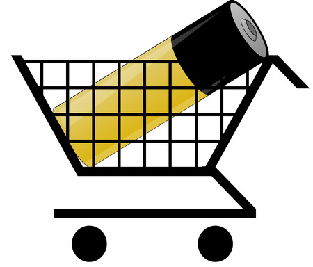 idiom: shopping cart with battery - concept of shopping for power or energy Illustration