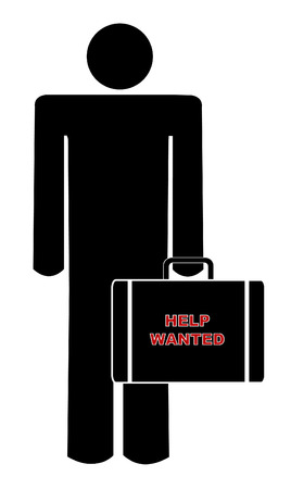 help wanted sign: hombre con malet�n con signo diciendo quer�a ayudar Vectores