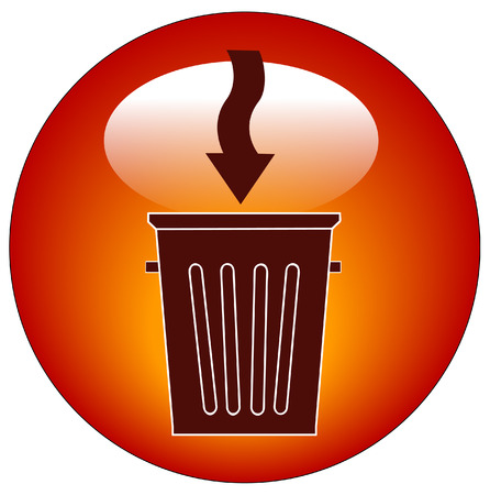 throwaway: trash can button or icon with arrow - illustration