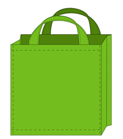 gift bags: illustration of a green reusable shopping bag  Illustration