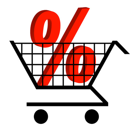percentage sign: shopping cart with percentage sign in the cart