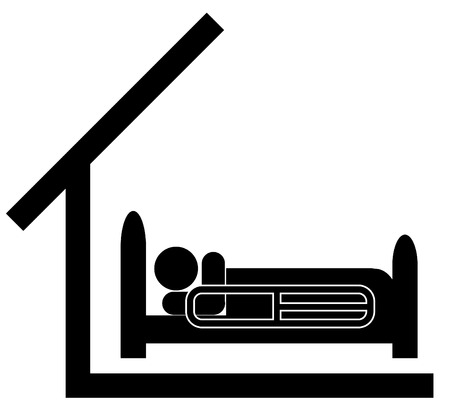 illustration of person in a hospital  bed with a roof over their head