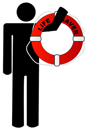 life preserver: man holding red and white life preserver in his arm
