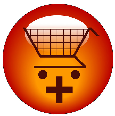 shopping cart with plus sign icon - add to shopping cart Vector