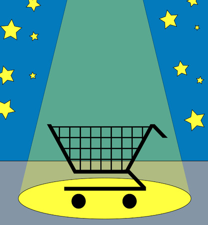 illustration of a shopping cart under the spotlight  Vector