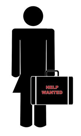 help wanted sign: mujer con malet�n con signo diciendo quer�a ayudar