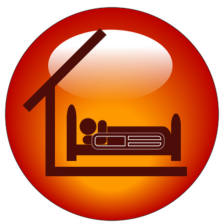 icon for a person lying in hospital bed with roof Vector