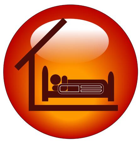 im bett liegen: Symbol f�r eine Person liegt im Krankenhaus mit Dach