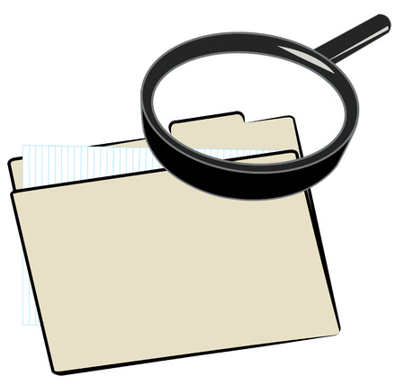 magnifying glass over top of file folder Vector