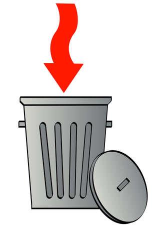 afvalbak: prullenbak met rode pijl in vuilnis