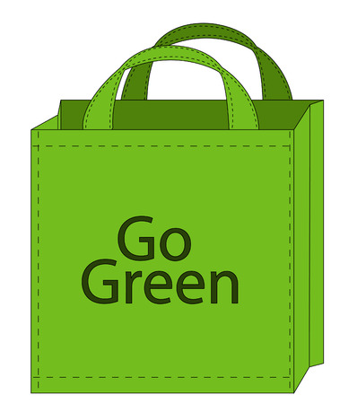 encouraging: illustration of a reusable shopping bag encouraging green shopping