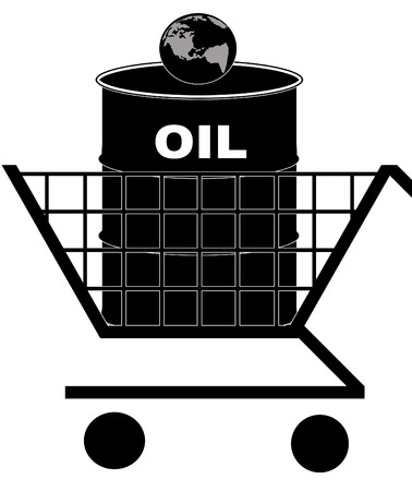 stockmarket: oil barrel in shopping cart with earth - oil crisis concept - vector