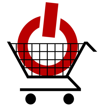 illustration of shopping cart with a power button or symbol Vector