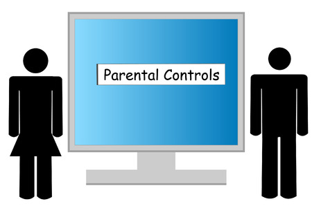 porn: illustration of computer being guarded by parental controls