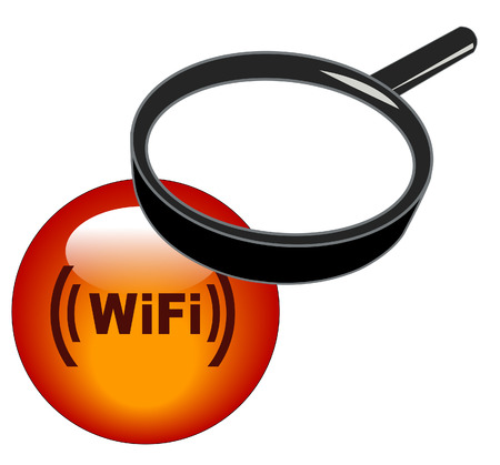 magnifying glass over top of wifi button Vector