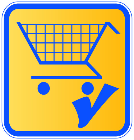 check mark sign: shopping cart with a check mark sign - add to cart  Illustration