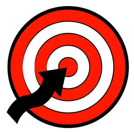 red white and black target with a arrow pointing to the center of the target Vector