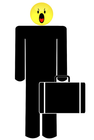 business man with angry or frustrated smiley face head Stock Vector - 3350008