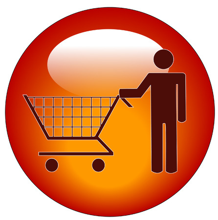 red button of a man pushing a shopping cart Vector