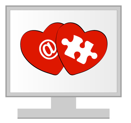 computer monitor with online dating or love concept Vector