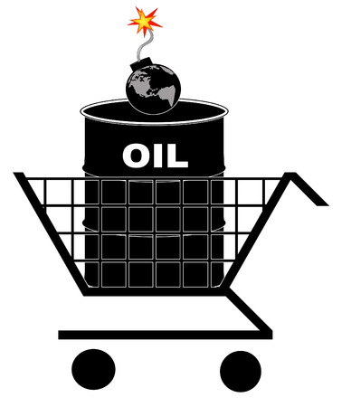 barrel bomb: oil barrel in shopping cart with earth as bomb - oil crisis concept