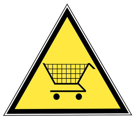 spending: yellow triangular sign with a shopping cart