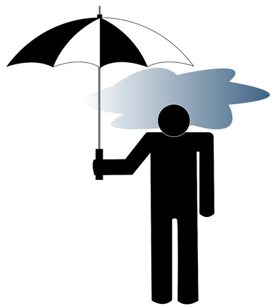 fatigued: man with the storm cloud under his umbrella - depression Illustration